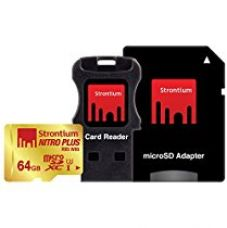 Buy Strontium Nitro Plus 64GB UHS-I Class 3 MicroSDXC Card with Reader and Adapter (SRP64GTFU1C) from Amazon