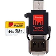 Buy Strontium 64 GB Nitro 85Mbps MicroSD Card with Type-C Reader from Amazon