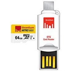 Buy Strontium 64 GB Nitro 566X microSDXC UHS-1 Memory Card (Class10) With OTG Card Reader from Amazon