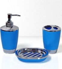 Buy Cortina Blue Polypropylene 3-piece Bathroom Accessory Set from PepperFry