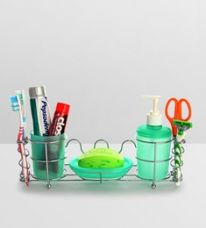 Buy Upasana Green Polypropylene Accessory Set - Set of 4 from PepperFry