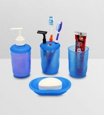 Get 15% off on Upasana Blue Polypropylene Accessory Set - Set of 4