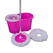 Buy Home Elite Pink Tornado 360 Degree Spin Mop With Rotating Pole And Bucket- With 2Microfiber Refills from Amazon