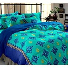 Buy Home Ecstasy 100% Cotton Printed Bedsheet Set 3030 (Blue, Double) from Amazon