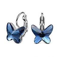 Yellow Chimes Crystals from Swarovski Montana Blue Butterfly Designer Earrings for Women and Girls for Rs. 799