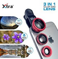 Buy XTRA Universal Clip-On 3 in 1 Mobile Cell Phone Camera Lens Kit, 180 Degree Fisheye Lens + 0.67X Wide Angle + 10X Macro Lens, With Lens Clip Holder, Red from Amazon