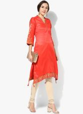 Buy Biba Orange Printed Modal Kurta for Rs. 900