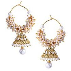 Royal Bling Bollywood Inspired Stylish Party Wear Gold Plated Traditional Pearl Polki Hoop Earrings/jewellery For Girls/Women for Rs. 499