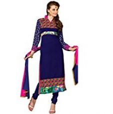 Buy Vibes Women Georgette Salwar Suit Dress Material (V199-9 _Blue _Free Size) from Amazon