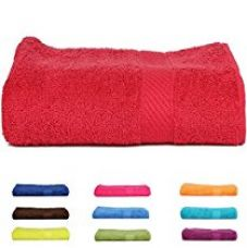 Trident 400 GSM Large Cotton Bath Towel - Red for Rs. 399