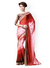 Buy Inddus Red Striped Georgette Saree from Myntra
