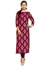 ZIYAA Women's Straight Crepe Kurta (ZIKUCR394-XL_Pink) for Rs. 454
