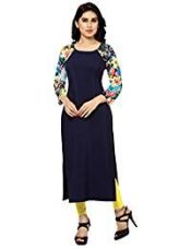 ZIYAA Women's Straight Crepe Kurta (ZIKUCR278-M_Blue) for Rs. 462