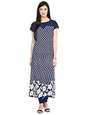 Buy Ziyaa Art Crepe Kurti (1228_L_Blue) from Amazon
