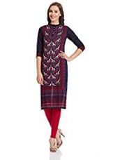 Vishudh Women's Straight Kurta (VNKU004077_Navy Blue_X-Large) for Rs. 549