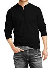 Buy Fanideaz Mens Cotton Full sleeve Premium Henley T-Shirt_Black_M from Amazon