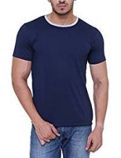 Free Runner Men's Blended Cotton T-Shirt (SB3003, Navy Blue, Medium) for Rs. 179