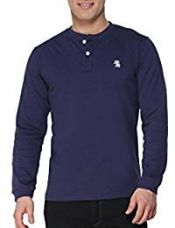 Buy The Cotton Company Men's Cotton Henley Full Sleeve T Shirt - Navy - M from Amazon