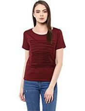 Buy Miss Chase Women's Basic Top (MCAW16TP06-92_Maroon_XL) from Amazon
