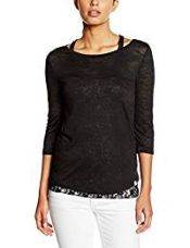 Buy ONLY Women's Lace T-Shirt (15103737_S_Black) from Amazon
