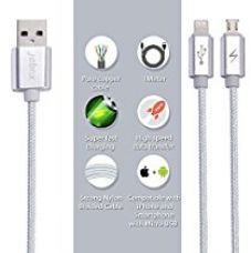 Buy 2 in 1 micro and apple iphone Fast Charging usb Cable (2 output ,dual connector, Color - Silver, Length - 1m, amazon fulfilled ) from Amazon