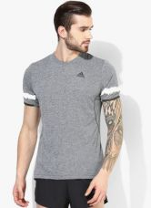 Buy Adidas Kanoi Prem Ss T Grey Running Round Neck T-Shirt for Rs. 1350