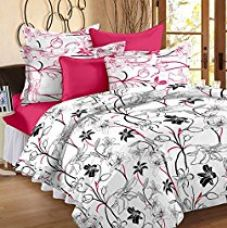 Story@ Home White 186 TC 100% Cotton 1 Double Bedsheet With 2 Pillow Cover White Pink for Rs. 599