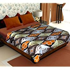 Story@Home Cloral Collection Fleece Floral Polyester Double Blanket - Brown for Rs. 349