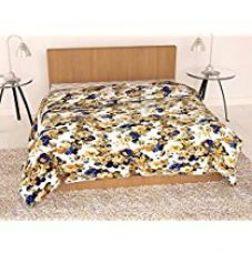 Buy Story@Home 200 GSM Feather Collection Floral Pattern Reversible Microfibre Comforter/Blanket/Quilt/Duvet - Single, Beige from Amazon