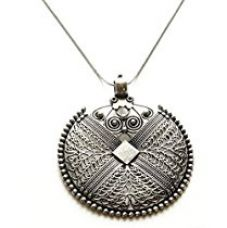Buy Sansar India German Silver Big Round Pendant Necklace for Girls and Women from Amazon