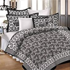 SheetKart Hand Block Fiesta Superb 144 TC Cotton Double Bedsheet with Pillow Cover - Jet Black for Rs. 399