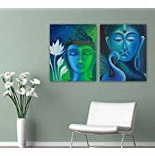 TiedRibbons® Set of 2 CANVAS Print Unframed (18 inch x 22 inch, Green & Blue) for Rs. 749