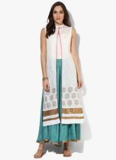 Flat 30% off on W White Printed Cotton Blouse