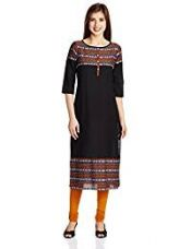 Aurelia Women's Straight Kurta (16FEK12625-78219_Black_Medium) for Rs. 599