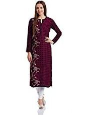 Buy Biba Women's Straight Kurta (FRENCH C12023_Pink_36) from Amazon