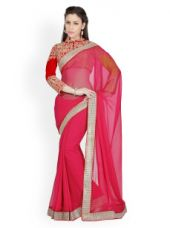 Buy Designersareez Red Poly Georgette Fashion Saree for Rs. 1037
