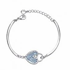 NEVI Heart with Dots Fashion Swarovski Elements Rhodium Plated Brass Kada Bracelet Jewellery for Women And Girls (Blue & Silver) for Rs. 749