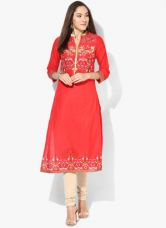 Buy Biba Red Printed Cotton Kurta from Jabong