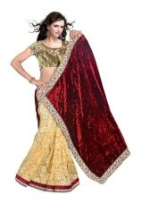 Buy Fancy Designer Sarees Bollywood Unique Embriodered Velvet Half N Half Brasso Saree With Blouse Piece for Rs. 794
