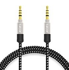 Buy Tukzer Nylon Braided Premium 3.5mm Aux Audio Cable for Car (Silver and Black) from Amazon