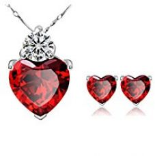 Buy Habors Silverswan 925 Silver Plated Red Crystal Heart Necklace and Earring Set For Women from Amazon