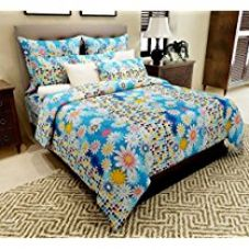 Home Candy 144 TC Floral Cotton  Double Bedsheet with 2 Pillow Covers - Blue (CTN-BST-285) for Rs. 499