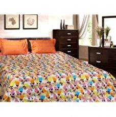 Buy Trident Designer Geometric,Solid,Floral 100% Cotton Double Bed sheet With 2 Pillow Covers- Orange,Pink,White,Purple & Yellow from Amazon