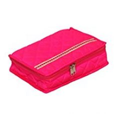 Kuber Industries™ Pink Quilted Satin Jewellery Organiser/ Jewellery Kit (Wedding Collection Gift) for Rs. 499