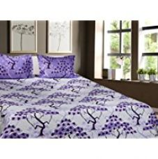 Buy Trident Designer Geometric,Solid,Traditional 100% Cotton Double Bed sheet With 2 Pillow Covers- Purple & White from Amazon