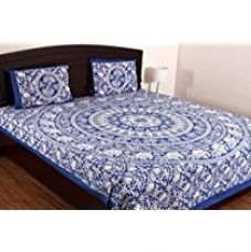 SheetKart Tusker One 160 TC Cotton Bedsheet with 2 Pillow Covers - King Size, Sapphire Blue for Rs. 599