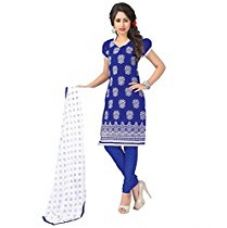 Vibes Womens Cotton Patch Work Straight Dress Material (V246-5002 _Blue _Free Size) for Rs. 854