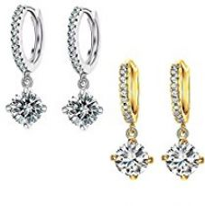 Valentine gift by Karatcart combo of Trendy Platinum And Gold Plated Elegant Austrian Crystal Drop Earrings For Women for Rs. 399