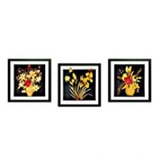 SAF flower Textured UV print Painting( Set of 3 , 30 cm x 2 cm x 30 cm) for Rs. 599