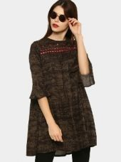 Abof Fusion Olive Green & Brown Liva Printed Regular Fit Flute Sleeve Kurti for Rs. 895
